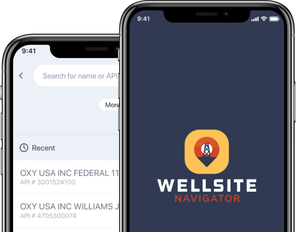 an image showing two phones, one displaying the wellsite navigator logo and the other a screenshot from inside the app