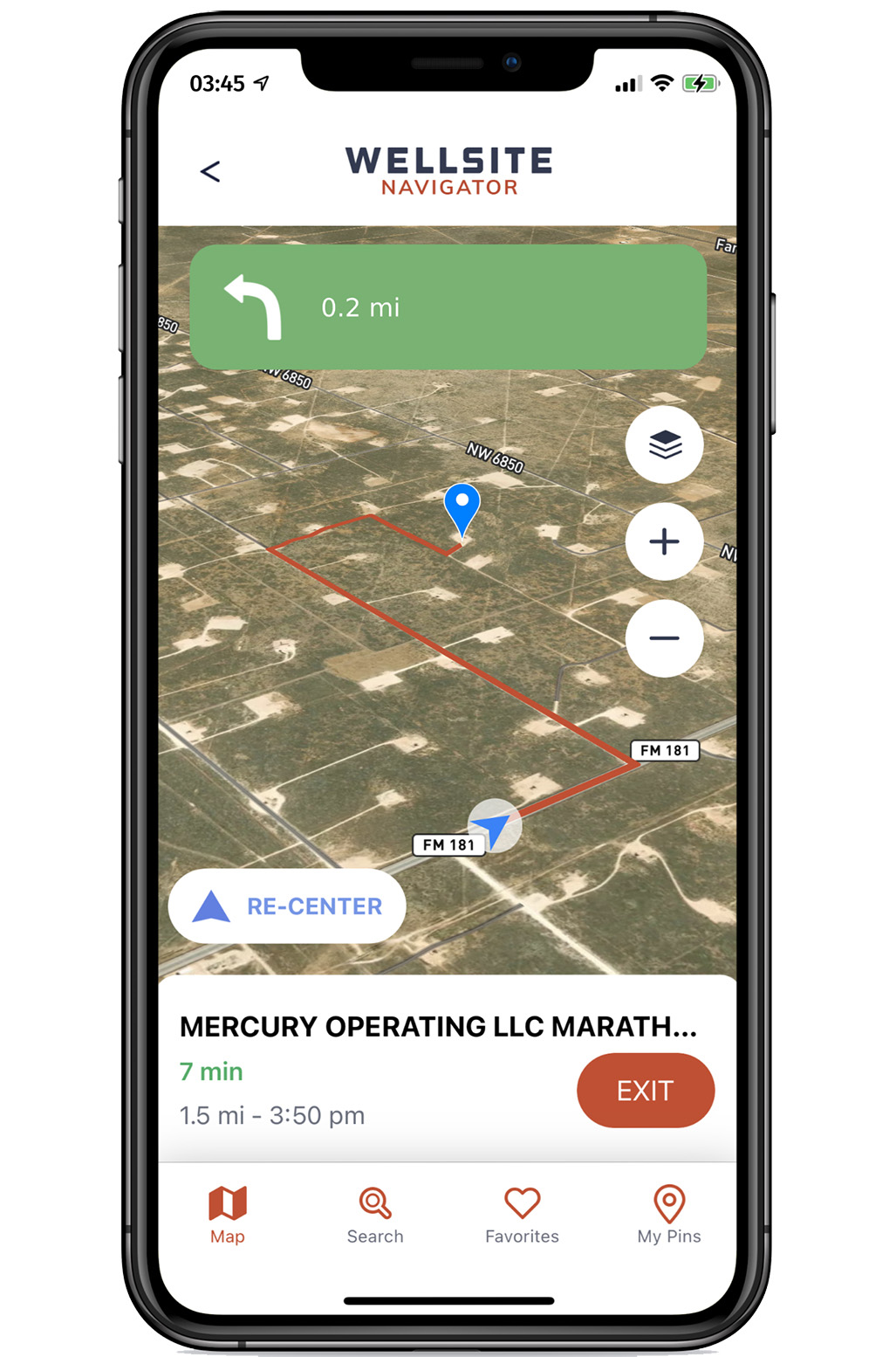 A phone displaying the inside screen of the wellsite navigator app, showing a map with Midland, TX and oilfield wells marked around it